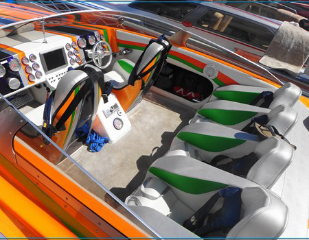 Speedboat interior at Gilbert's